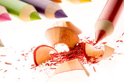 Sharpened pencils and wood shavings Royalty Free Stock Photos