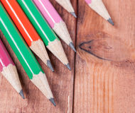 Sharpened pencils on wooden background. Close-up Royalty Free Stock Image