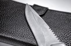 Sharpened Pocket Knife Blade on a Leather Wallet.  royalty free stock photos