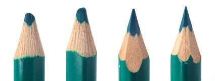 Used colored pencil leads macro closeup royalty free stock photos