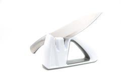 Sharpener μαχαιριών Whte, απομονωμένο υπόβαθρο Στοκ εικόνες με δικαίωμα ελεύθερης χρήσης