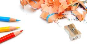sharpener μολυβιών ανασκόπησης λευκό Στοκ εικόνα με δικαίωμα ελεύθερης χρήσης