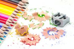 Sharpener with colored pencils Royalty Free Stock Images