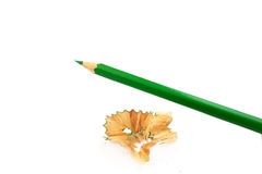 Sharpener and pencil. Green sharp pensil, isolated on the white Stock Photo