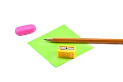 Sharpener and pencil Royalty Free Stock Images