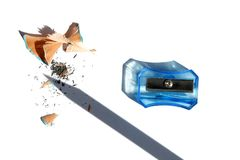 Sharpener , pencil shaving and pencil shade isolated on white background stock images