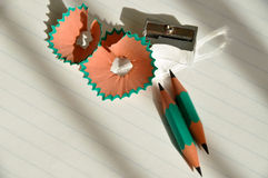 Sharpener and pencil Stock Photos