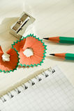 Sharpener and pencil Royalty Free Stock Photos
