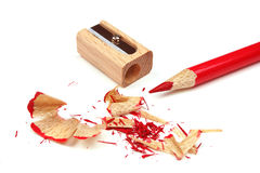 Sharpener and red pencil Royalty Free Stock Images