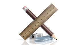 Sharpener, ruler, pencil and eraser Royalty Free Stock Images