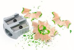 Sharpener with shavings Stock Images