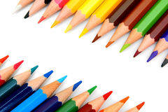 Sharpeners and pencils on a white background. Stock Photography