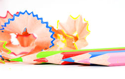 Sharpening colored pencils. Macro of sharpened colored pencils Royalty Free Stock Image