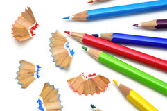 Sharpening colored pencils Stock Photos