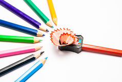 Sharpening a colour pencil Stock Photography