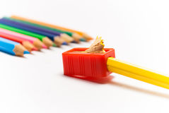 Sharpening a colour pencil Royalty Free Stock Photos