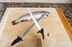 Sharpening Fillet Knife Royalty Free Stock Images