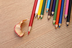 Sharpening red color pencil Stock Photos