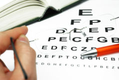 Sharpness and glasses. Sharpness test, glasses for optician Royalty Free Stock Image