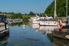 Sharpness Marina at the end of the Gloucester - Sharprness Canal, UK stock photos