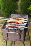 Old meat baking method in dough on fire charcoal royalty free stock photo