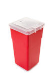 Sharps collector container isolated on white. Background Royalty Free Stock Photos