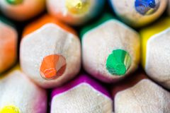 Sharps of sharpened colored pencils Royalty Free Stock Photography