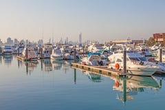Sharq小游艇船坞在科威特市 库存照片