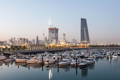 Sharq Marina and Kuwait City at dusk Royalty Free Stock Image