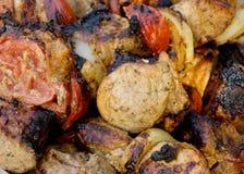 Shashlick juicy. Appetizing background baked barbekyu beef delicious dinner dish feed food stock photo