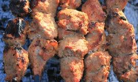 Shashlick laying on the grill closeup Royalty Free Stock Photo