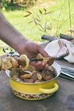 shashlik为烤肉格栅做准备 人手在串上把用卤汁泡的肉放片断  在串的烤肉串 自由空间为 库存图片