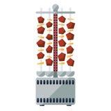 Shashlik ή kebab ηλεκτρικό επίπεδο εικονίδιο κουζινών ελεύθερη απεικόνιση δικαιώματος