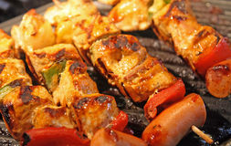 Shashlik. Close up on the grill Royalty Free Stock Photography