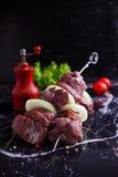 Shashlik asado a la parrilla con las cebollas, tomates Foto de archivo libre de regalías