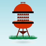 Shashlik on the barbecue grill Royalty Free Stock Images