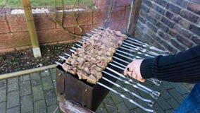 Shashlik - barbecue russo tradizionale Carne sul barbecue smo Fotografie Stock