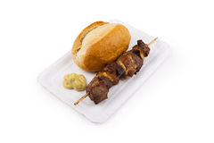 Shashlik with Bread roll - Schaschlik mit Brötchen Royalty Free Stock Images