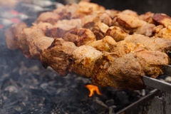 Shashlik closeup Royalty Free Stock Images