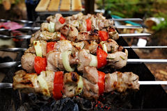 Shashlik closeup Stock Photo