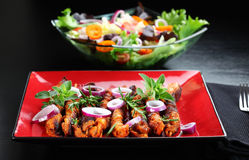 Shashlik com salada vegetal fotografia de stock royalty free