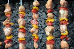Shashlik con il salmone, il pepe ed il pomodoro Immagini Stock Libere da Diritti
