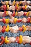 Shashlik con il salmone, il pepe ed il pomodoro Fotografia Stock