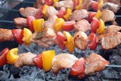 Shashlik con il salmone, il pepe ed il pomodoro Immagine Stock Libera da Diritti