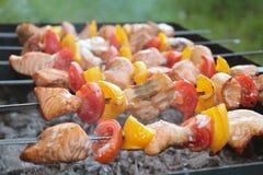 Shashlik con il salmone, il pepe ed il pomodoro Fotografie Stock Libere da Diritti