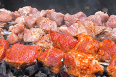 Shashlik cooking Stock Image