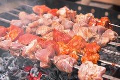 Shashlik cooking stock image