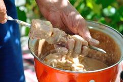 Shashlik - cooking barbecue Royalty Free Stock Photography