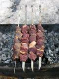 Shashlik cru da carne de carne de porco aka que está sendo cozinhado no soldador no fim do inverno acima Cozimento do assado do p imagem de stock