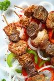 Shashlik da carne de porco com veget fresco imagem de stock royalty free